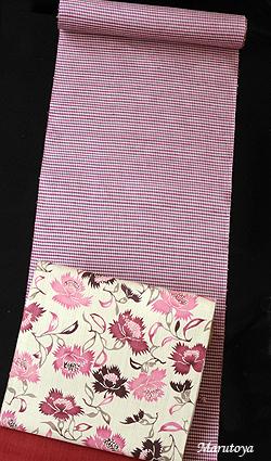 蘇芳と栗を染料とした小格子の手織紬