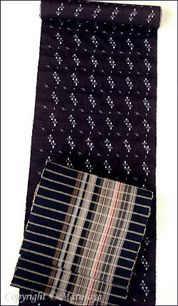 琉球藍染め真綿双紬と草木染め綿織物八寸帯