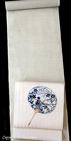 越後麻織着物と手描き友禅染帯