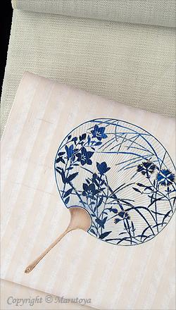 手描き友禅染め帯と越後麻織