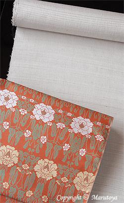 蟹牡丹錦とばら染めの手織紬