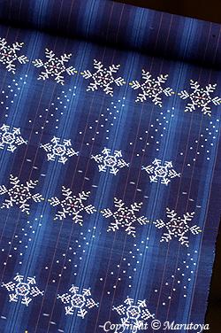 堀直子 雪の精 藍木綿花織帯