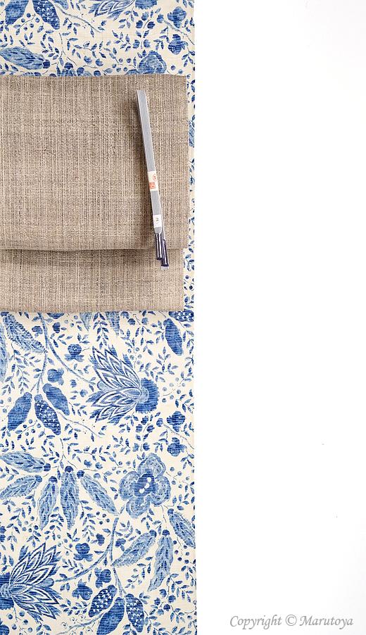 生紬絽織 藍更紗着物