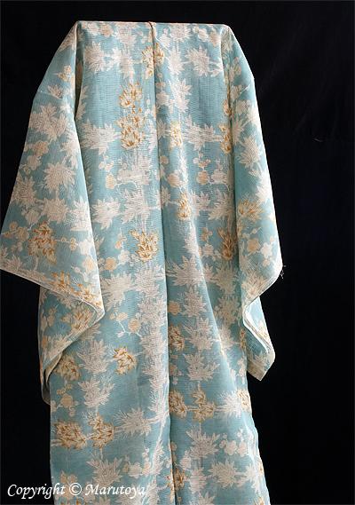 生紬絽織 黄葉模様
