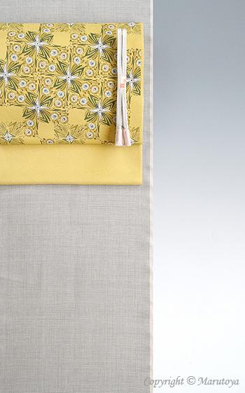 綿薩摩×木版更紗染め帯