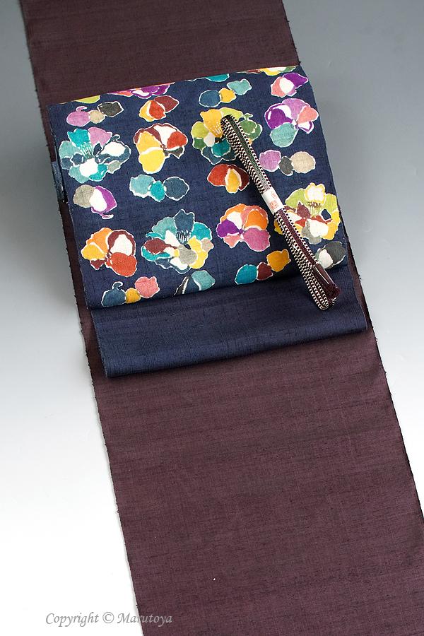 駒井和子 型絵染め帯
