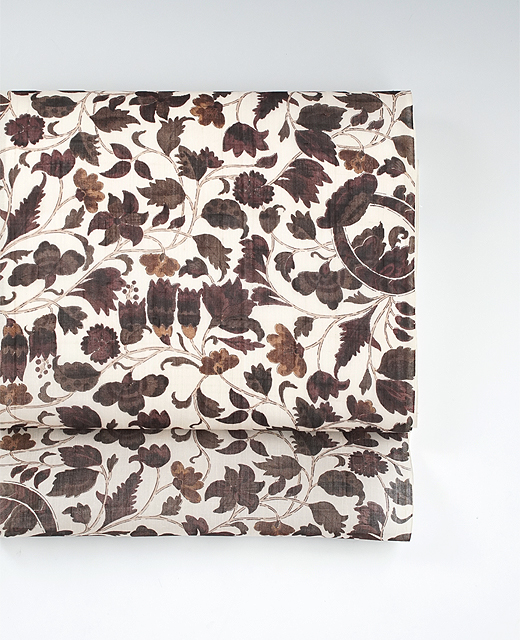 更紗模様:生紬地染め帯