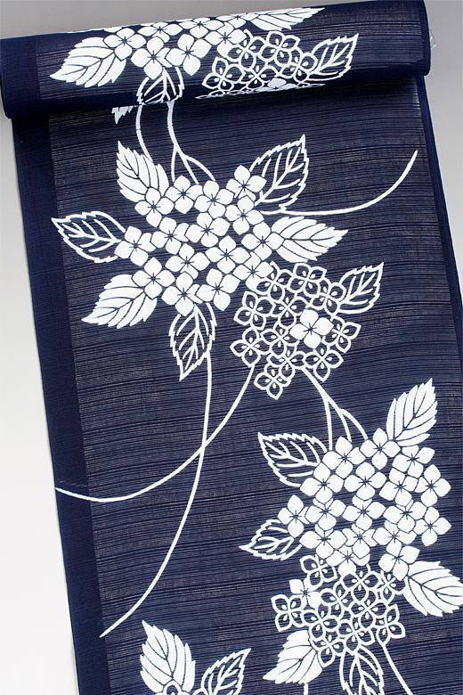 竺仙:地染まり綿絽ゆかた 紫陽花