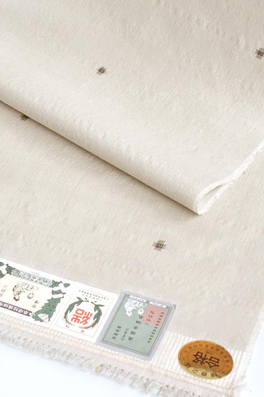 摺り型友禅染め帯:古伊万里絵皿模様