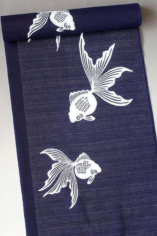 竺仙:地染まり綿絽ゆかた 金魚