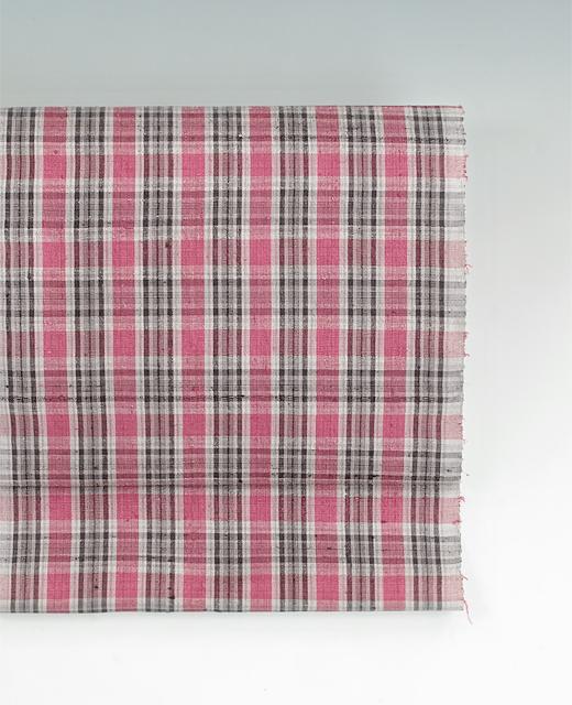 草木染め手織紬網代織 九寸名古屋帯:コチニール.ばら染め