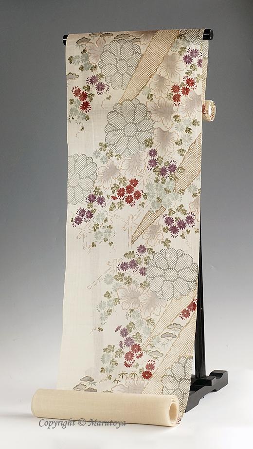 生紬染め帯 小袖模様 懸崖菊
