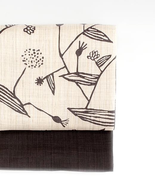麻染め帯:夏草花模様