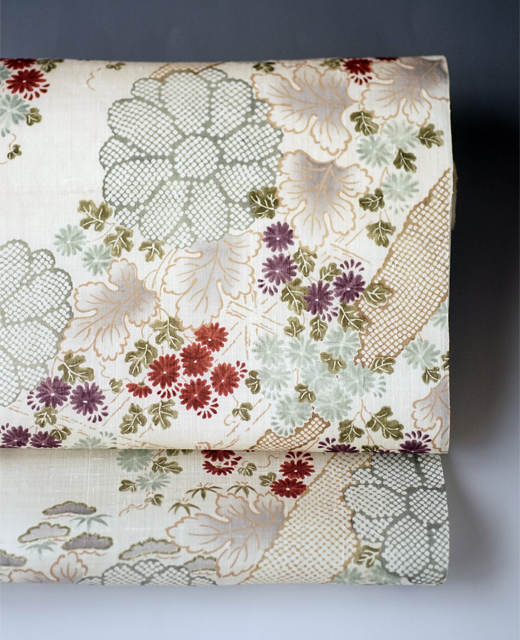 小袖模様:生紬地染め帯