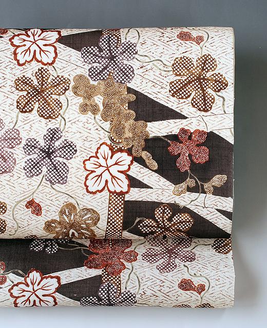 蔦葡萄小袖模様:生紬地染め帯