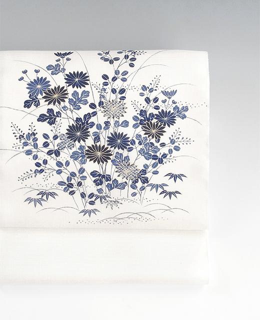 御所解模様 薄絹(単衣/夏季)手描き京友禅染め帯