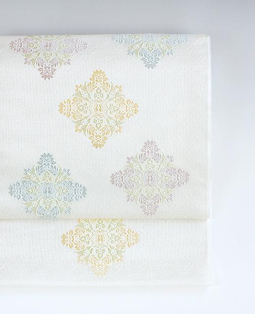 夏季 単衣:顕紋紗九寸名古屋帯/有職裂 唐花筥形