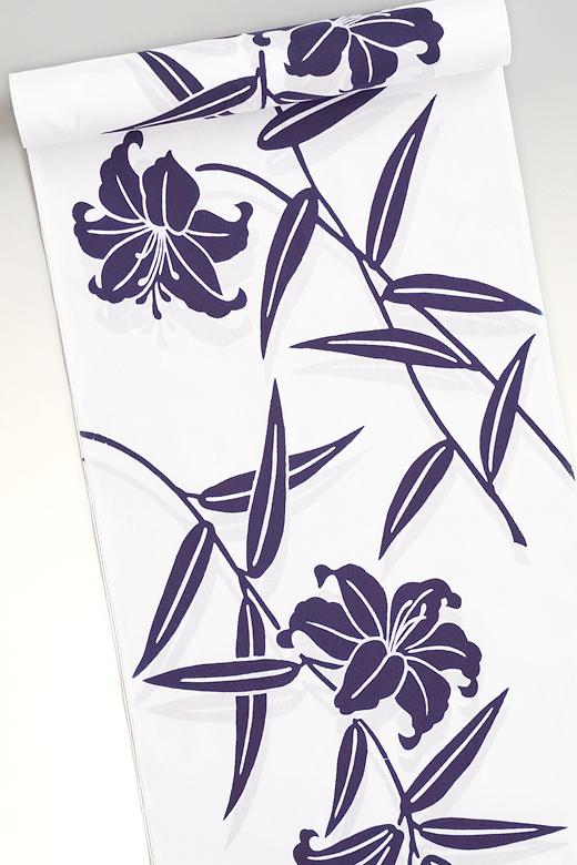 竺仙《ちくせん》:コーマ白地ゆかた 百合の花