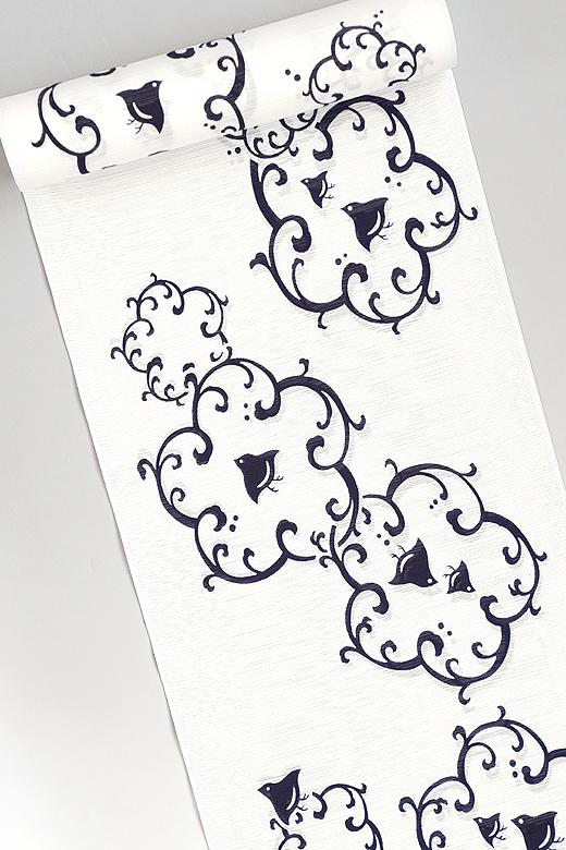 竺仙:白地綿絽ゆかた 波輪に千鳥
