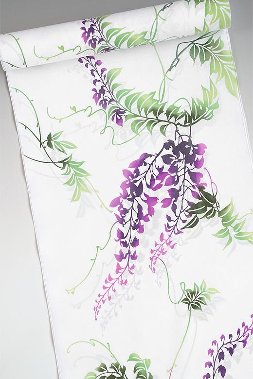 竺仙:コーマ白地ゆかた 藤の花