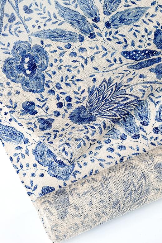 生紬 絽小紋 藍更紗模様