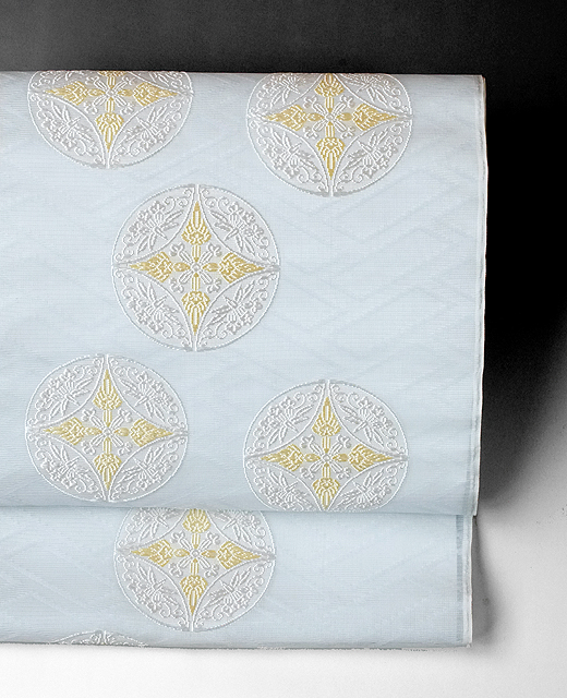 夏季 単衣:顕紋紗九寸名古屋帯/竜胆丸文様
