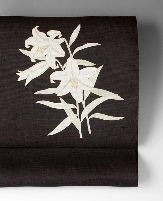 薄絹(単衣/夏季)手描き京友禅染め帯:白百合