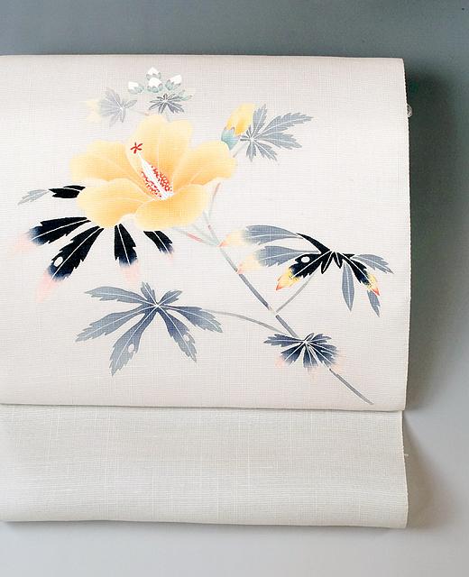 薄絹(単衣/夏季)手描き京友禅染め帯:芙蓉