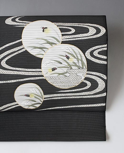 単衣/夏季 手描き京友禅 絽染め帯:疋田流水に蛍
