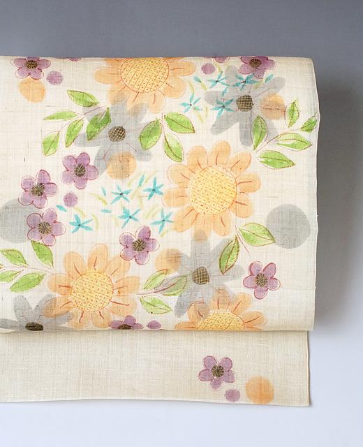 山本由季 制作:薄絹染め九寸名古屋帯