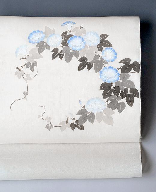 薄絹(単衣/夏季)手描き京友禅染め帯:朝顔の図