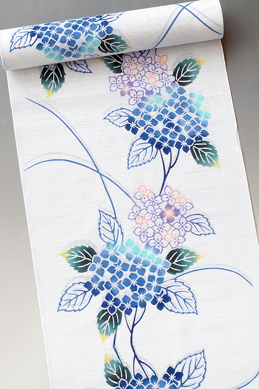 竺仙:白地綿絽ゆかた 紫陽花