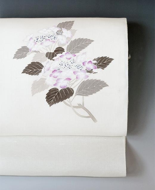 薄絹(単衣/夏季)手描き京友禅染め帯:紫陽花の図