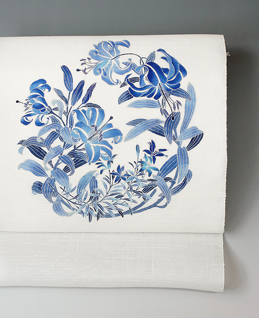 薄絹(単衣/夏季)手描き京友禅染め帯:百合の花模様