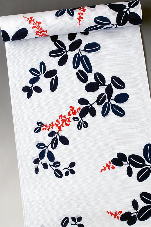 竺仙:白地綿絽ゆかた 萩