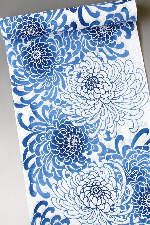 竺仙:白地綿絽ゆかた 乱菊