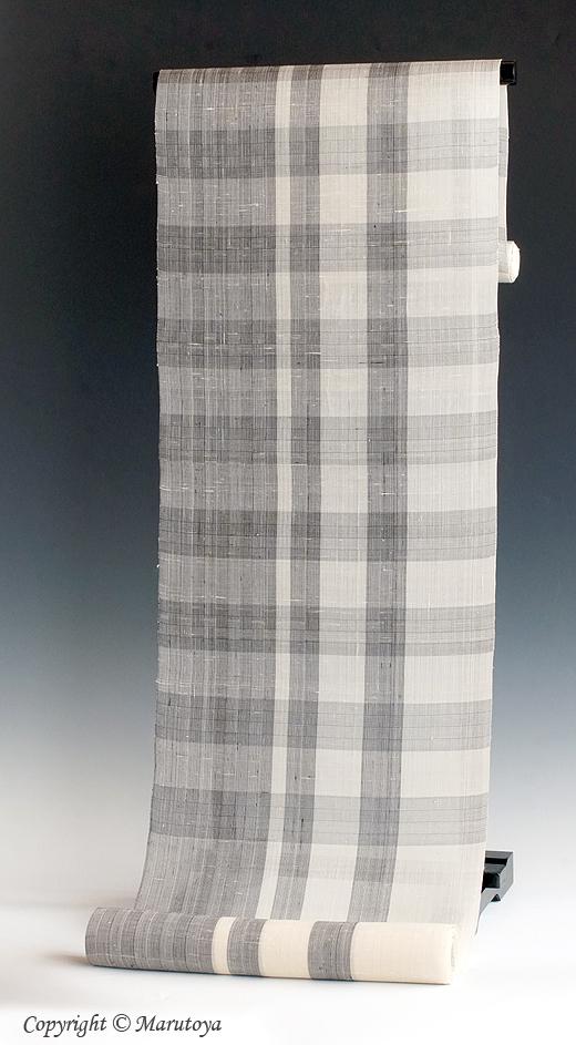 生紬格子織 九寸名古屋帯