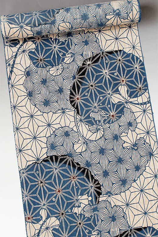 竺仙:奥州小紋 麻の葉に石蕗