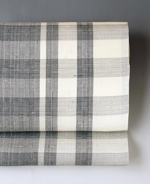夏季 単衣 : 生紬 網代織 格子九寸名古屋帯