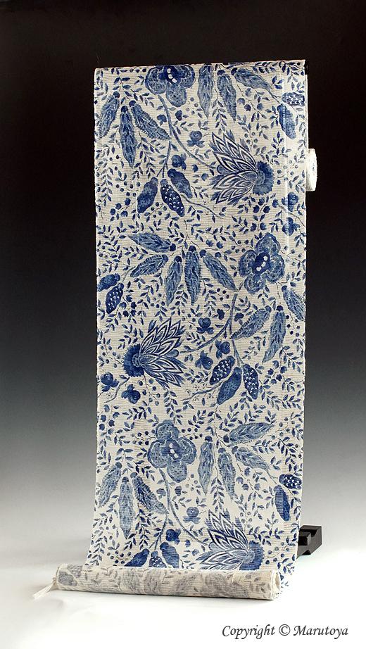 生紬 絽小紋 藍染め更紗
