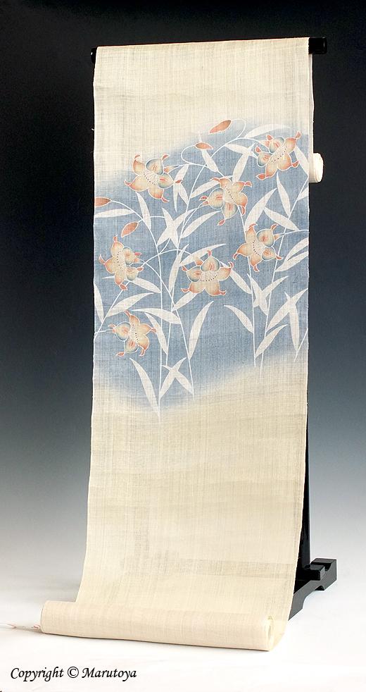 麻染め帯 百合の花