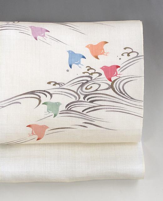 麻染め帯:波に千鳥