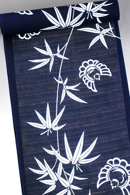 竺仙:地染まり綿絽ゆかた 竹にふくら雀