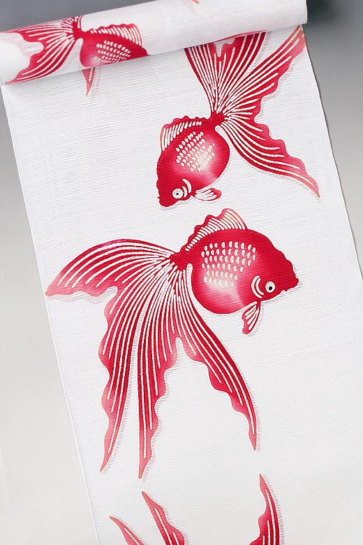 竺仙:白地綿絽ゆかた 金魚
