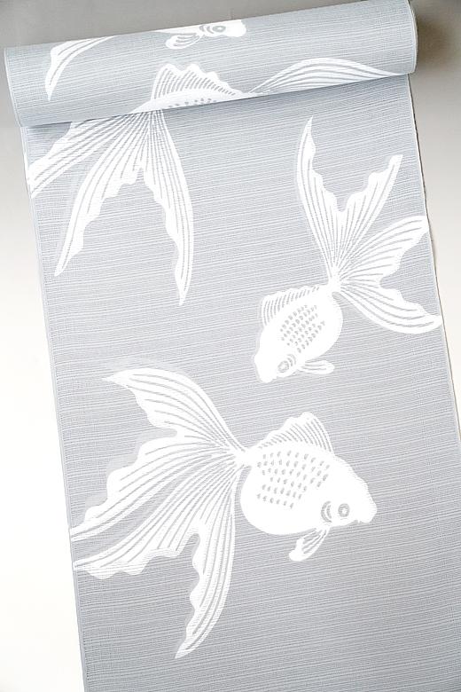 竺仙:グレイ地染まり綿絽ゆかた 金魚