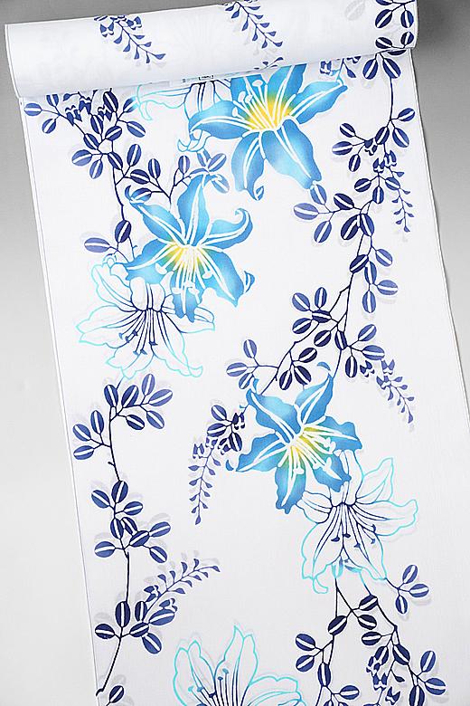 竺仙:コーマ白地ゆかた 百合に藤の花