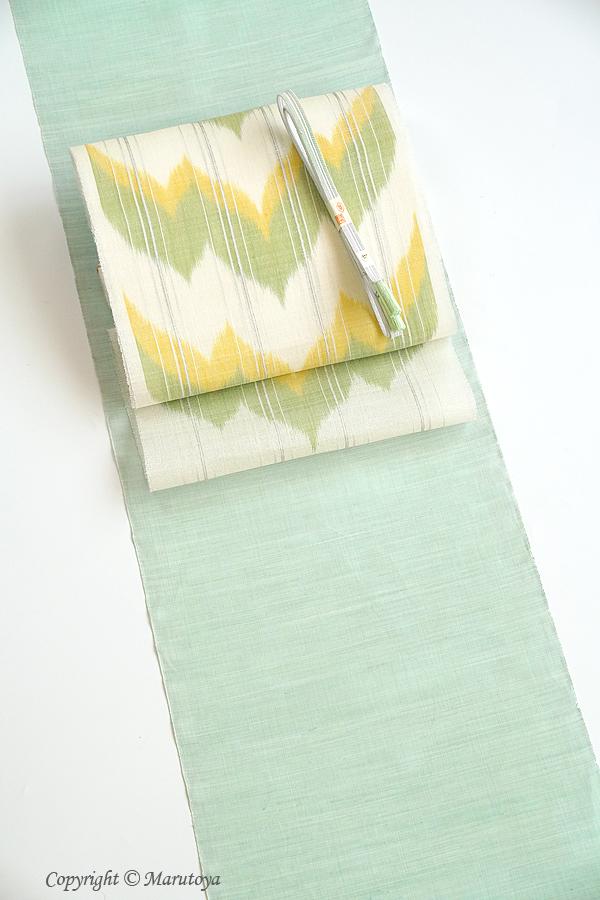 国画会所属 山下健 制作 生絹絣織九寸名古屋帯