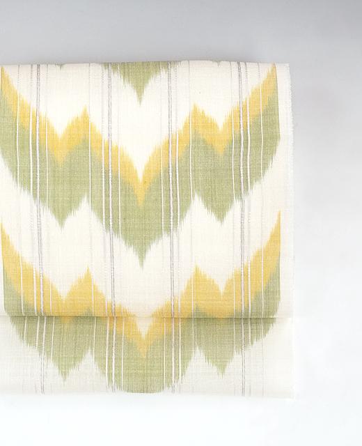 山下健 制作:生絹.絣織九寸名古屋帯