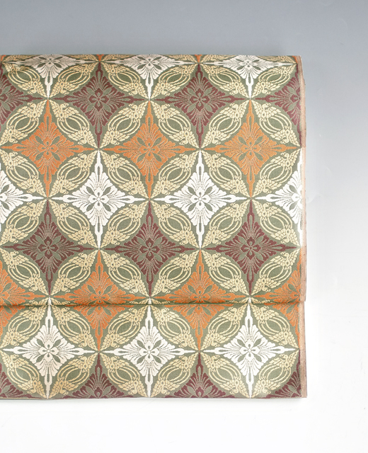 有職織物:錦織『鳥襷花菱文』九寸名古屋帯