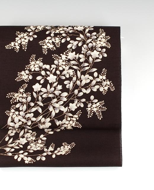 萩と桔梗: 薄絹(単衣/夏季)真糊糸目友禅染め帯